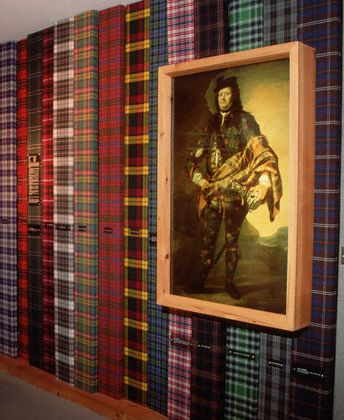 Wall of tartan patterns at St. Ann's Gaelic College of Celtic Arts and Crafts, Nova Scotia, Canada.