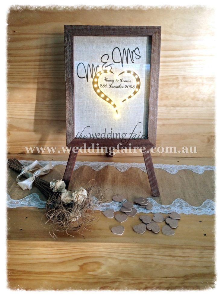 90 Hearts Jarrah Drop Top Guest Book - Mr & Mrs LED - The Wedding Faire