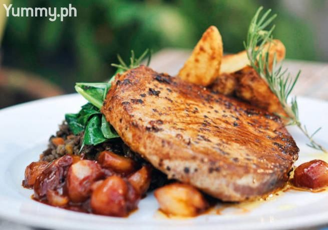Oven Baked Tuna Steak with Shallot Confit on Braised Lentils, Rapini, and Olive Oil-Fried Potatoes