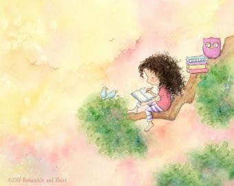 Chica morena leerle a los niños de Bunny  impresión del arte