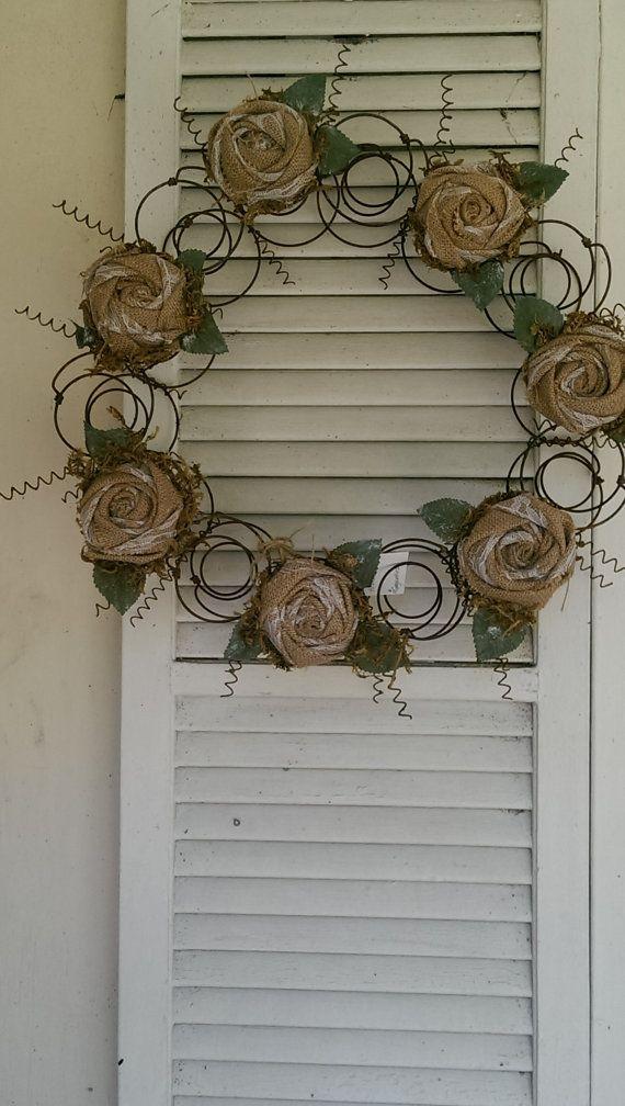 Repurposed Bedspring Wreath Rolled Burlap by AlteredTreasureShop pin4etsy