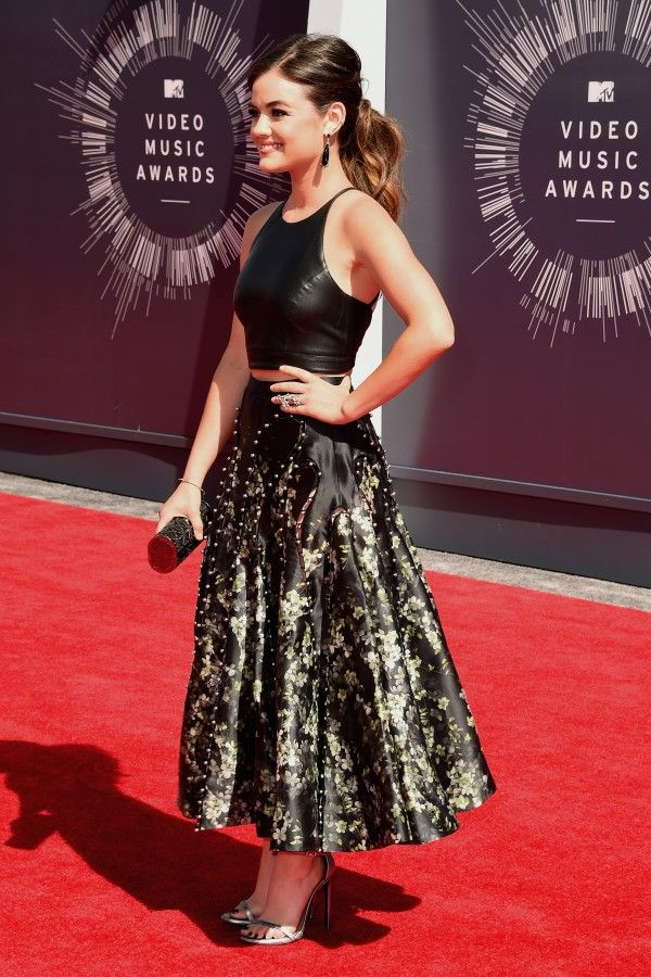 Lucy Hale in Sachin & Babi Spring 2014 halter top, Zimmermann skirt, earrings by Graziela Gems and EF Collection – 2014 MTV Video Music Awards #VMA