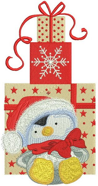 7e7718d23dc Penguin in Santa hat machine embroidery design. Machine embroidery design.  www.embroideres.com Christmas  star  cute  holiday  gift  bow  present   Santa ...