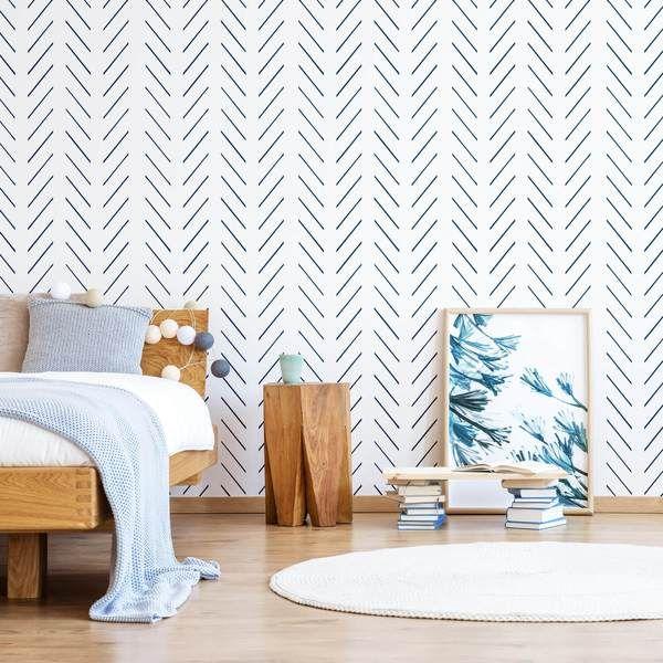Navy Blue Herringbone Nursery Wallpaper In 2020 Herringbone Wallpaper Nursery Wall Decor Boy Nursery Wallpaper