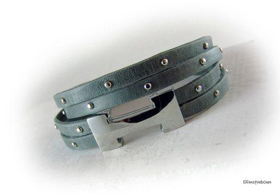 Wickelarmband Lederarmband Damen Nappa  grau von elfenstuebchen