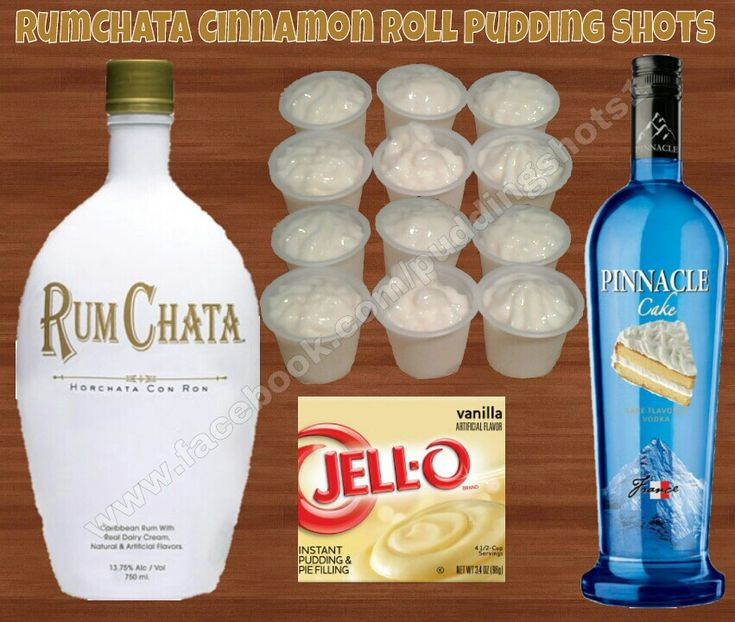 RumChata Cinnamon Roll Pudding Shots.  See full recipe and more on www.facebook.com/puddingshots1