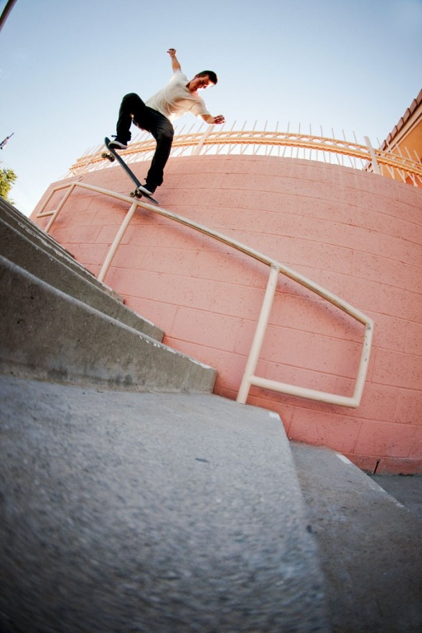 I've met David and he's a really cool dude.      Skater: David Reyes  Trick: Nollie Crooked grind  Location: El Monte, Ca  Year: 2011  Photographer: Anthony Acosta