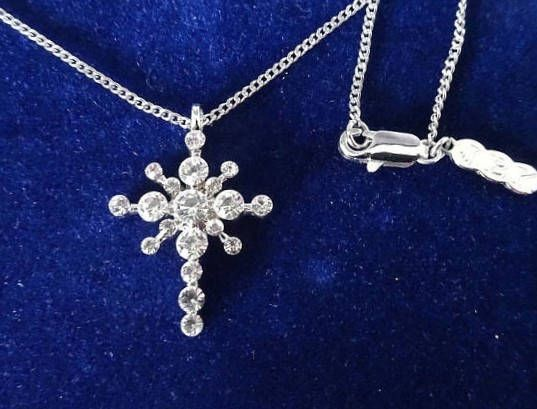 Jackie Kennedy Silver Cross Necklace  Platinum Plated