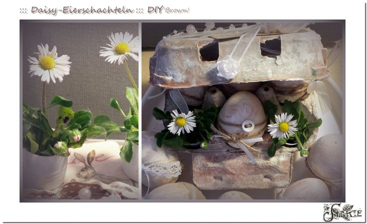 Gefüllte braune Eierschachtel im Vintage-Style, dank weißer Acrylfarbe und Wasserfarben, mit Spitzenbändern, Hasenbildern und Gänseblümchen in Pritt-Stift-Deckel-Übertöpfen.