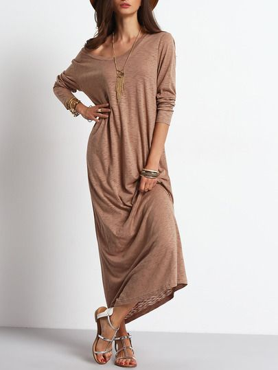 Shop Apricot Scoop Neck Casual Maxi Dress online. SheIn offers Apricot Scoop Neck Casual Maxi Dress & more to fit your fashionable needs.