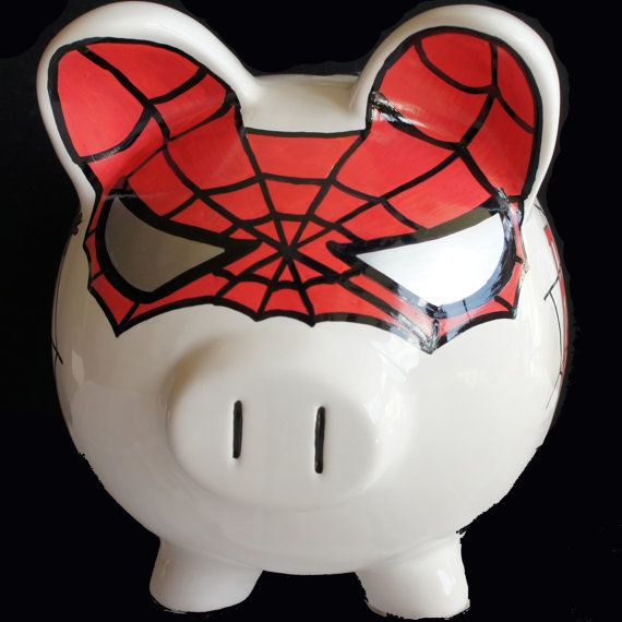 The Amazing SpiderPig Personalized piggy bank by NanyCrafts, $39.99