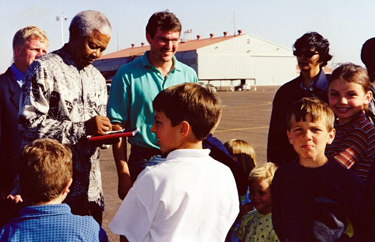 This was taken in 1997 three weeks after first meeting Mandela. My son could not understand why Mandela asked him what his name was again because he told him what it was at their first meeting. Submitted by Anabel van Niekerk