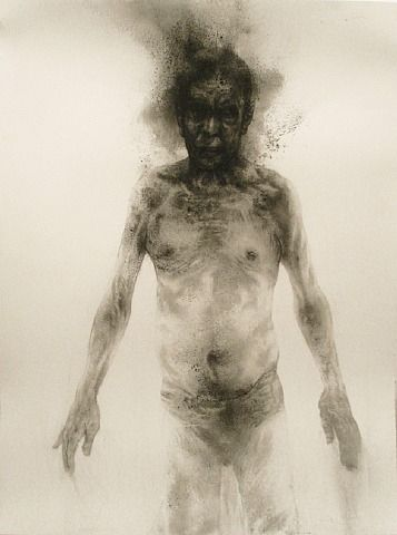 Diane Victor who is a superb artist whatever medium she uses.  This is  a smoke drawing - sometimes referred to as 'fumage'.