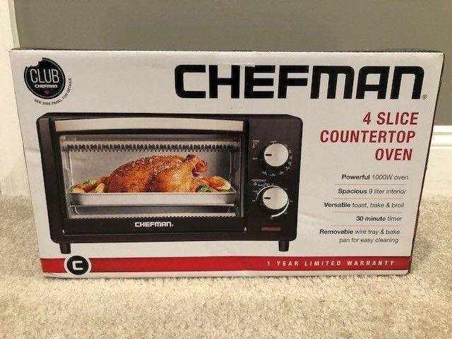 Chefman Countertop Toaster Oven 4 Slice Toast Bake Broil Black