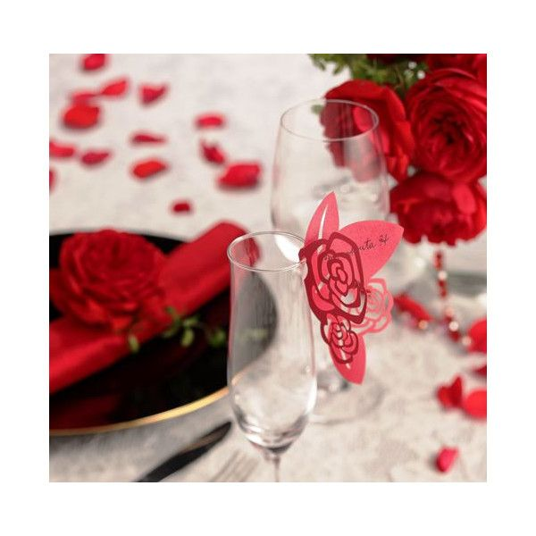 グラスカード(赤いバラ)10枚セット>披露宴演出アイテム|結婚式グッズ専門店シェリーマリエ