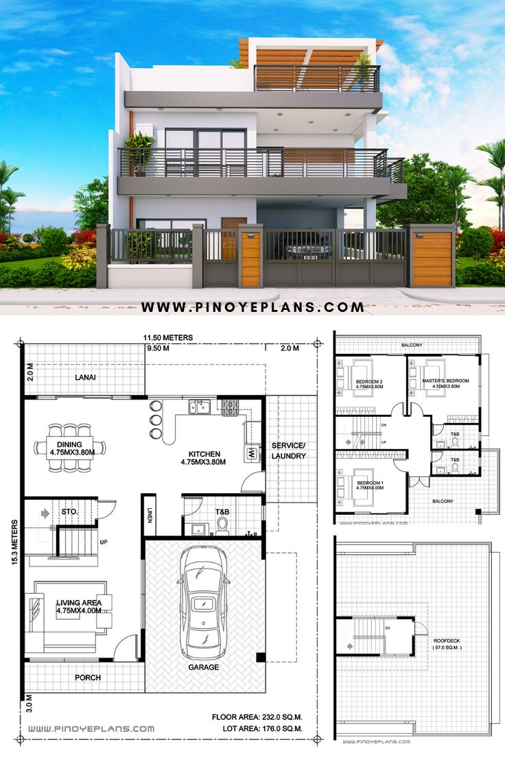 Two Storey House Plan, Beds 3, Baths 3, Floor Area 232