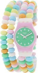 Swatch LP135B Caramellissima Green Dial Multicolor Plastic Band Women Watch NEW