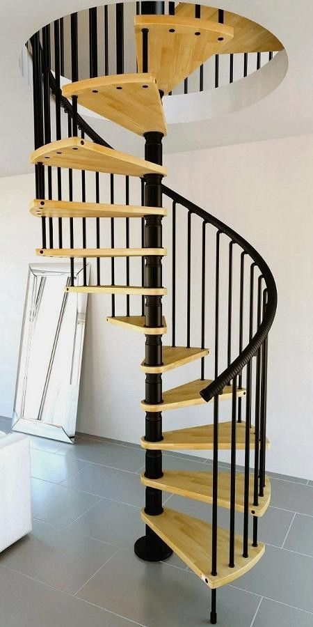 Misterstep gamia wood spiral staircase kit black metal work natural tread shade from 1 150 - British interior design style pragmatism comes first ...
