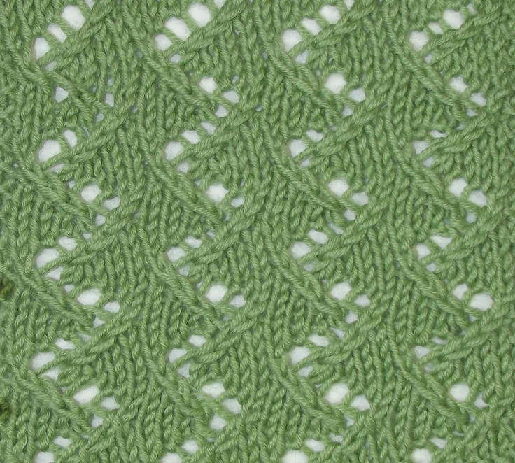Intertwined Branches is an interesting, allover lacy stitch, found in the Lacy Stitches category.