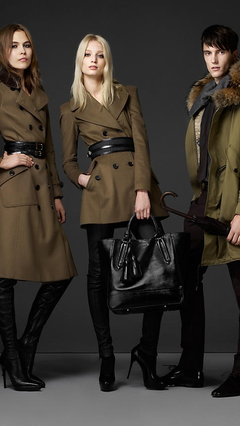 Shearling Collar Wool Cashmere Coat   Burberry