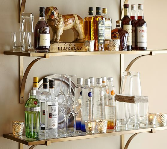 Brass Shelf Pottery Barn Booze And Shelves And Dog For