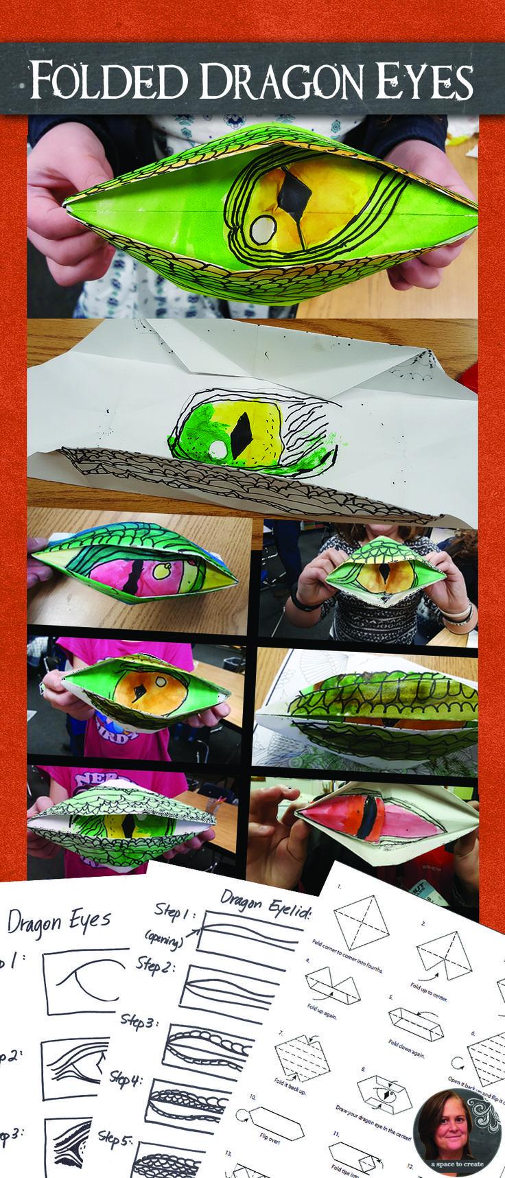 Folded Dragon Eye Art Lektion, sehr ansprechende Lektion für Kinder der oberen Grundstufe.