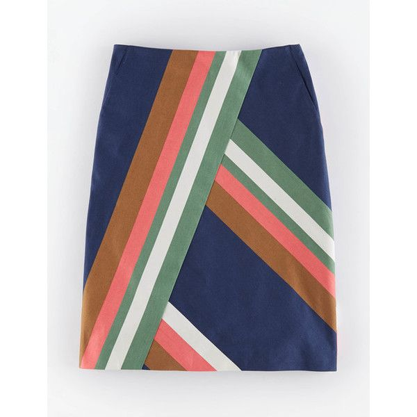 Boden Maya Skirt (230 PEN) ❤ liked on Polyvore featuring skirts, navy, boden skirts, navy blue knee length skirt, navy blue skirt, blue skirt and navy skirt