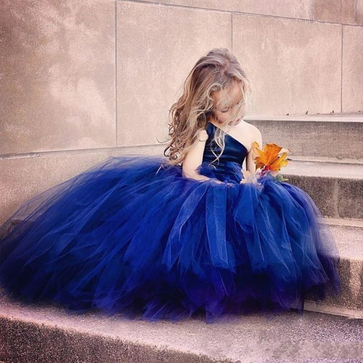 Dark Blue Tulle Ball Gown Flower Girl Dresses For Wedding 2016 One Shoulder Girls Pageant Gowns Lace Up Floor Length Kid Party Dresses Childrens Party Dresses Cute Flower Girl Dresses From Sexypromdress, $65.97| Dhgate.Com