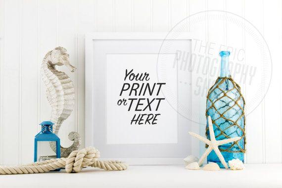 Styled Stock Photography / Beach, Shells, Ocean, Blue, Star Fish, Rope, Lantern, Nautical / Blank Frame / Empty Frame / BN001