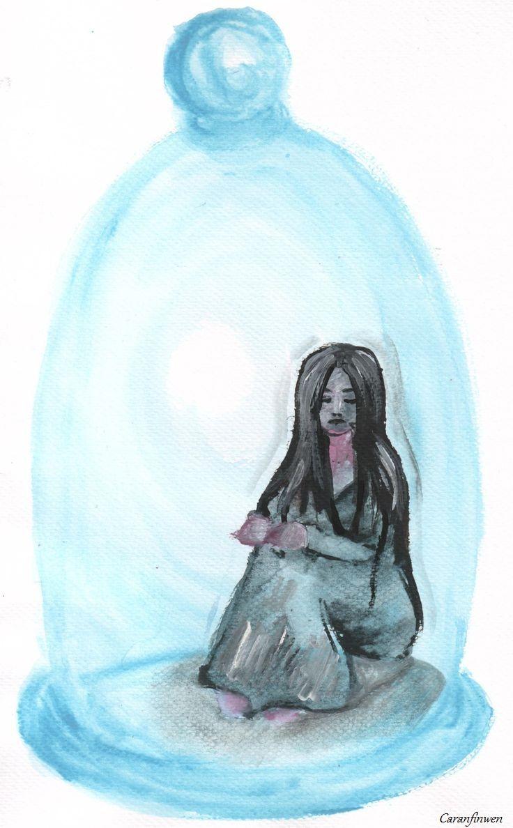 Bell Jar by Caranfinwen  #bell #jar #blue #glass #hair #escape #prison #closed