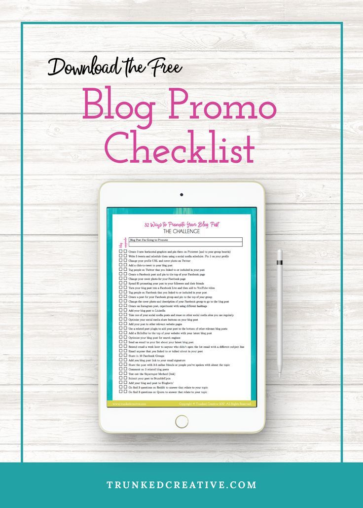FREE Checklist to Promote Your Next Blog Post for Mega Traffic by Trunked Creative