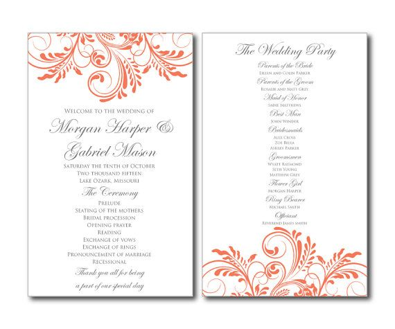 15 best Wedding Programs images on Pinterest Wedding program - wedding program template