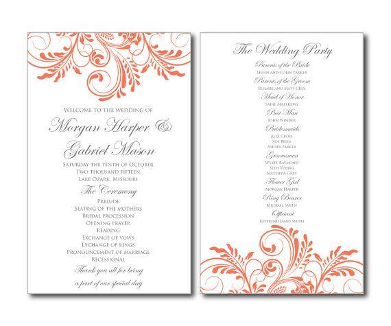 15 best Wedding Programs images on Pinterest Wedding program - wedding program template