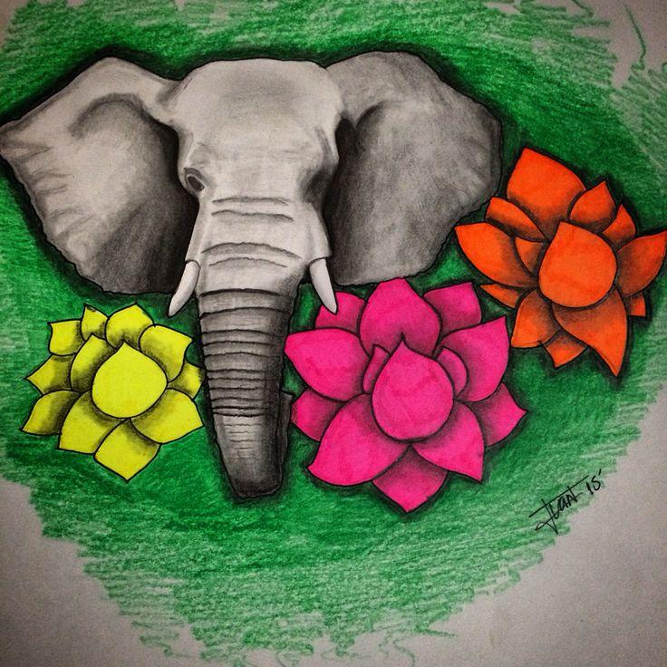 Pencil & sharpies, elephant & lotus