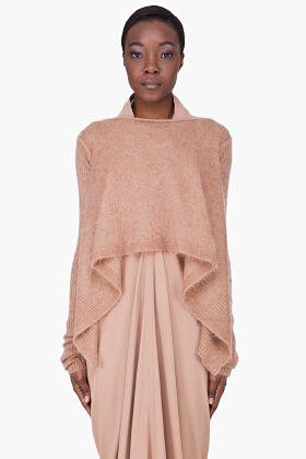 RICK OWENS Beige Mohair Wrap Poncho Sweater