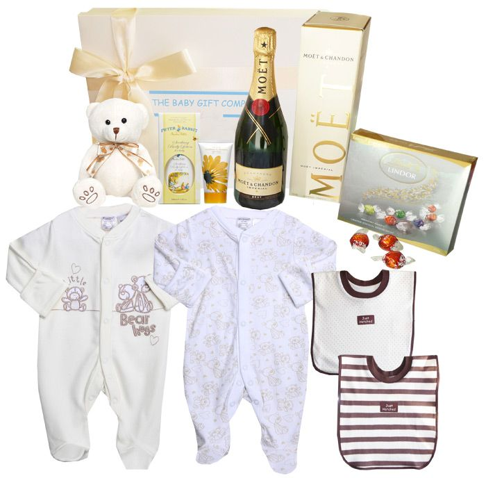 The ultimate baby gift basket for congratulating the birth of a new baby into the world with free shipping.