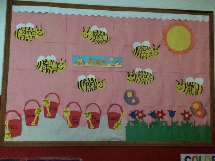 Busy Bee June Bulletin Board I Created For My Toddler Classroom Their Names And Birthdays