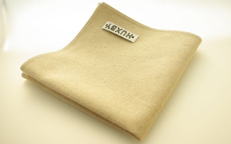 Natural linen pocket square handmade in Australia by Huxby Haberdashery