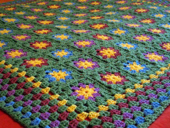 Crochet Blanket Apple Green Posy Flower Crochet by Thesunroomuk
