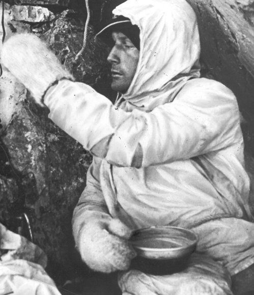 Heinrich Harrer during his climb up the Eiger