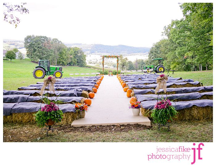 Maybe without the tractors and with white or red material over the hay bails lol.