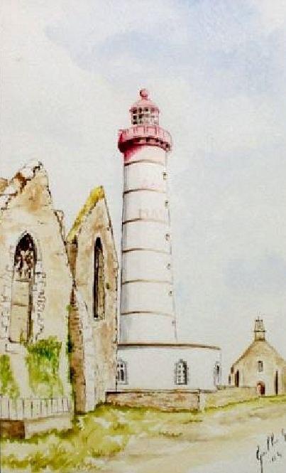 Phare de la pointe saint mathieu (aquarelle)