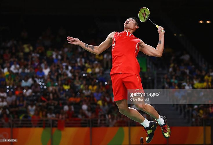 Dan Lin of China competes during the Men's Singles Badminton Semi-final against Chong Wei Lee of Malaysia on Day 14 of the Rio 2016 Olympic Games at Riocentro - Pavilion 4 on August 19, 2016 in Rio de Janeiro, Brazil.