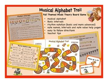 Welcome to the Music Alphabet Trail which meanders through the musical alphabet. Start on the bass clef and travel along the trail, watching for squirrels and skunks. If you run into a squirrel card you will move ahead. If you come upon a skunk card you'll move back.  The object of the game is to be the first player to reach the treble clef circle space by landing on it at the end of the trail. Concepts: musical alphabet, basic intervals, basic rhythm notation, moving up/down the diatonic…