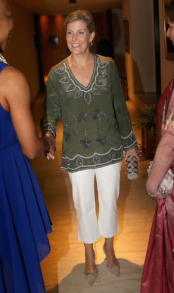 Sophie, Countess of Wessex dressed up in an embellished top as she attends a reception for ORBIS volunteers at the ITC Sonar Hotel on day 3 of her visits to India, 20 Sep 2013