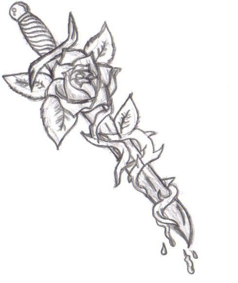 .com/dagger-tattoos/awesome-rose-flower-and-dagger-tattoo-design ...