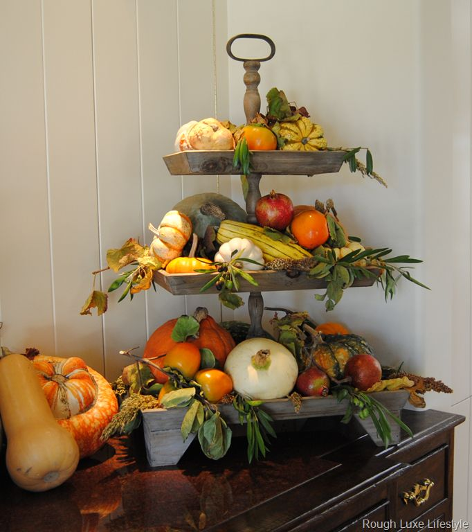 Kitchen Decor For Fall: Kitchen Display, Tiered Stand And Farm Kitchen Decor