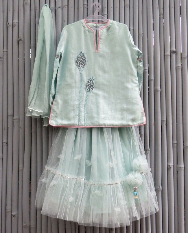 Light Teal Lengha Set - kidswear - kid's lengha - kid's lehenga set - designer…