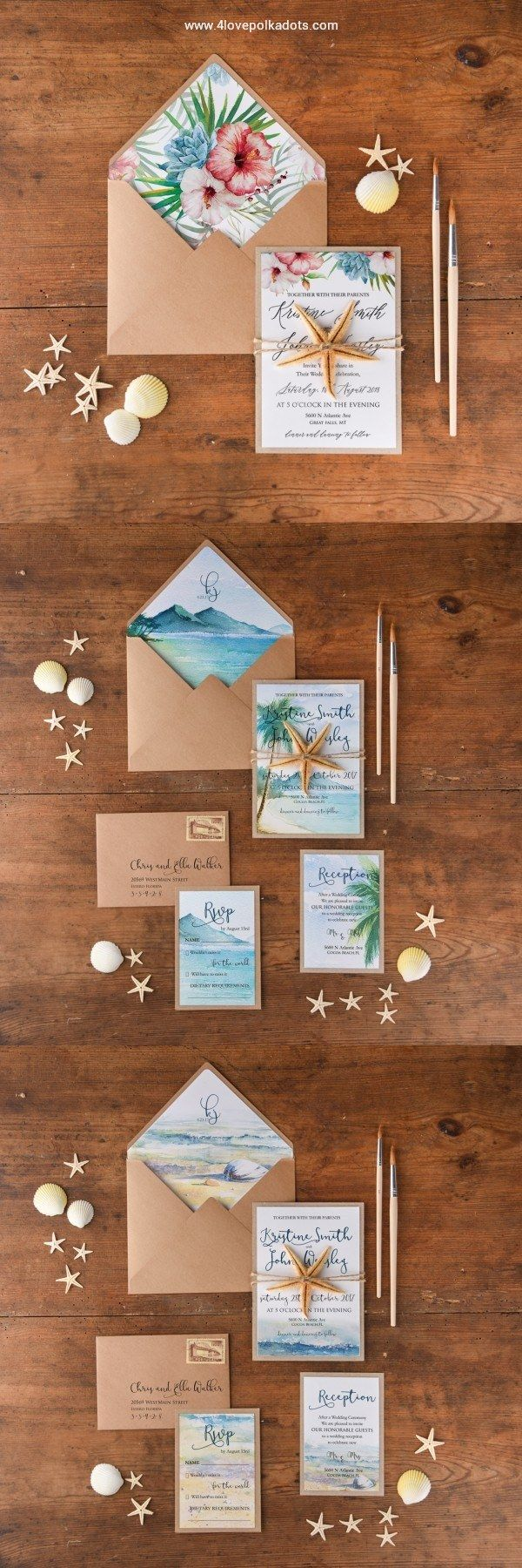 Watercolor beach wedding invitation with real starfish 4lovepolkadots #beach #wedding #weddingideas #tropical #seaside