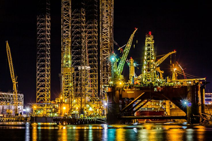 The Platforms At Night | Offshore Oil Platforms In Graving Docks At Pelican Island | Galveston | Texas | Photo By Matt Harvey
